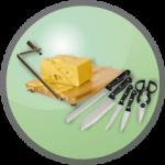 Emballage alimentaire : ustensile de decoupe, décors