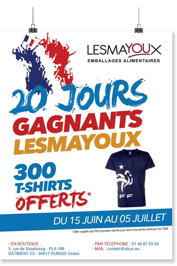 Les 20 jours gagnants Lesmayoux : 300 tee-shirts offerts